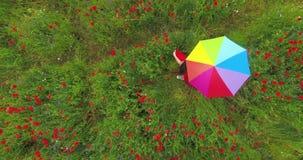 Ansicht oben von des unerkannten Mädchens, das bunten Regenschirm in einer Mohnblume spinnt Verbindung mit Natur Freizeit drau?en stock footage
