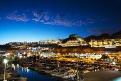 Ansicht Puerto Rico Night in die Kanarischen Inseln stockfotos