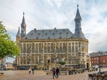 Ansicht am Rathaus von Aachen vom Platz Stockfoto