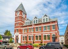 Ansicht am Rathausgebäude von Duncan in dem Vancouver Island in Kanada lizenzfreies stockfoto