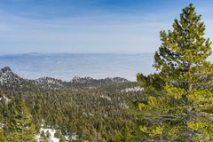 Ansicht in Richtung zur Palm Springs-Luftstraßenbahn auf der Kante von der Spur, zum von Spitze Sans Jacinto, Kalifornien anzubri lizenzfreie stockbilder