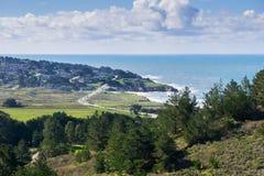 Ansicht in Richtung zur Pazifikküste und zum Montara, McNee-Ranch, Kalifornien lizenzfreies stockbild