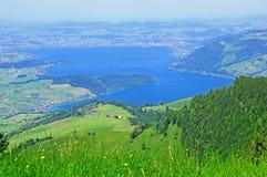 Ansicht Rigi Kulm vom Berg. Die Schweiz. stockbild