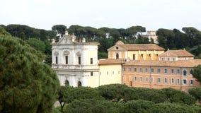 Ansicht Roman Forumss von Avventino, der schönste Platz in Rom stock footage
