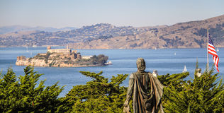 Ansicht Sans Francisco Bay vom Fernschreiber-Hügel Stockbild