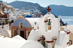 Ansicht Santorini Oia des Dorfs Stockfotos