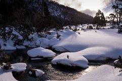 Ansicht schneebedeckten Mt Fangen Sie Nationalpark im Winter in Tasmanien, Australien auf stockfotografie