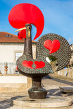 Ansicht am Stadtsymbol Hahn von Barcelos in Portugal stockfotos