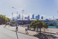 Ansicht Sydney-` s Cowper des Kaibereichs nahe Potts-Punkt Stockfoto