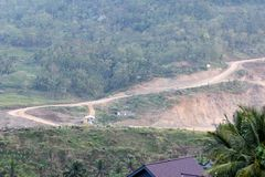 Ansicht Tugu-Dorf in Trenggalek, Indonesien stockbilder