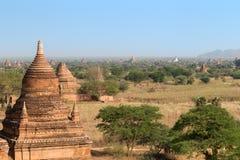 Ansicht vieler Pagoden und Gebäude in Bagan Lizenzfreie Stockfotos