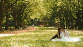 Ansicht in voller Länge der jungen attraktiven Paare der Jungvermählten, die auf dem Gras sitzen und sich amüsieren Bräutigam ist stock footage