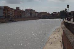 Ansicht vom Arno in Pisa stockbilder