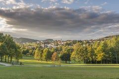 Ansicht vom Badekurortgarten zu Grafenau im bayerischen Wald Stockbilder