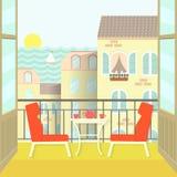 Ansicht vom Balkon über der Stadt und dem Meer Flache Vektorillustration Lizenzfreie Stockbilder