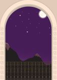 Ansicht vom Balkon auf einer moonlit Nacht Stockbild