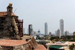 Ansicht vom Barajas-Schloss zur Stadt von Cartagena lizenzfreie stockbilder