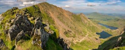 Ansicht vom Berg Snowdon, Wales, Großbritannien Stockfotografie