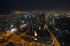Ansicht vom Burj Khalifa zur Nacht Dubai Stockfoto