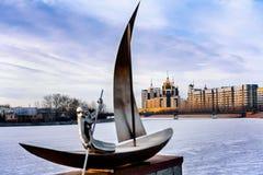 Ansicht vom Damm in Astana Stockbild