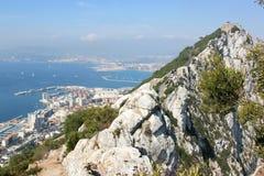 Ansicht vom Felsen von Gibraltar, Vereinigtes Königreich Stockbild