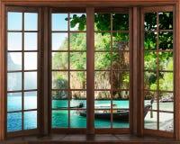 Ansicht vom Fenster Schattenbilder des Fensters mit einem Vorhang, Flussansichthintergrund vektor abbildung