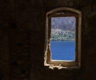 Ansicht vom Fensterrahmen Stockbild