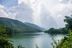 Ansicht vom Fewa See Stockbilder