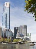 Ansicht vom Flinders-Weg, Melbourne Lizenzfreies Stockfoto