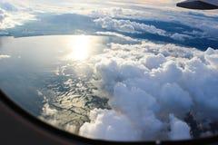 Ansicht vom Flugzeugfenster Lizenzfreie Stockbilder