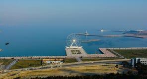 Ansicht vom Gebirgspark auf der Baku-Bucht Lizenzfreie Stockbilder
