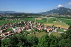 Ansicht vom Gruyeres Schloss stockfotos