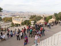 Ansicht vom Hügel von Montjuic Barcelona Stockfotos