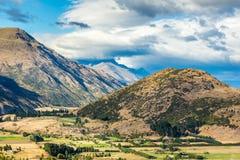 Ansicht vom Kronen-Strecken-Ausblick, Südinsel, Neuseeland Lizenzfreie Stockbilder