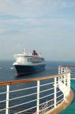 Ansicht vom LuxuxKreuzschiffbalkon Stockbild