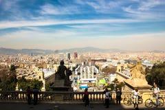 Ansicht vom nationalen Palast von Montjuic, Barcelona Lizenzfreies Stockfoto