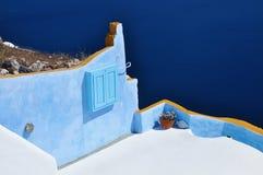 Ansicht vom Oia-Dorf, Santorini, Griechenland Stockbilder