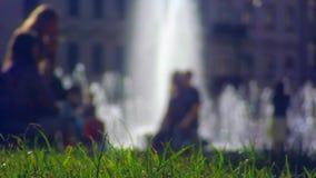 Ansicht vom Rasenrecht auf Brunnen stock video