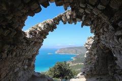 Ansicht vom Schloss von Monolithos, Rhodos Stockbild