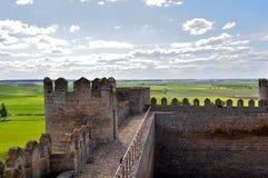 Ansicht vom Schloss von Montealegre de Campos, Valladolid, Spanien Stockfotos