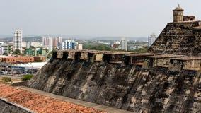 Ansicht vom Schloss zur Stadt von Cartagena stockfotografie