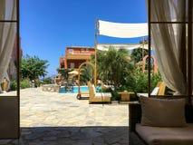 Ansicht vom Sommercafé in Europa Lizenzfreies Stockfoto