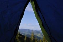 Ansicht vom Zelt Stockbilder