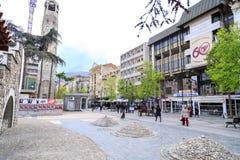 Ansicht vom zentralen Bezirk von Skopje, die mazedonische Hauptstadt Lizenzfreies Stockfoto