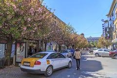 Ansicht vom zentralen Bezirk von Skopje, Mazedonien Lizenzfreies Stockfoto