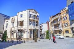 Ansicht vom zentralen Bezirk von Skopje, Mazedonien Stockfotografie