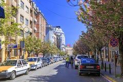 Ansicht vom zentralen Bezirk von Skopje, Mazedonien Stockbild