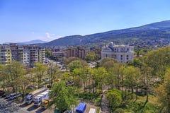 Ansicht vom zentralen Bezirk von Skopje, Mazedonien Stockfotos