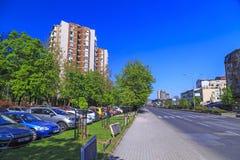 Ansicht vom zentralen Bezirk von Skopje, Mazedonien Stockbilder