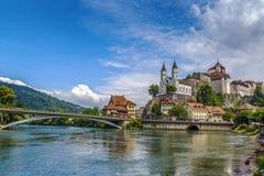 Ansicht von Aarburg-Schloss, die Schweiz Stockbilder